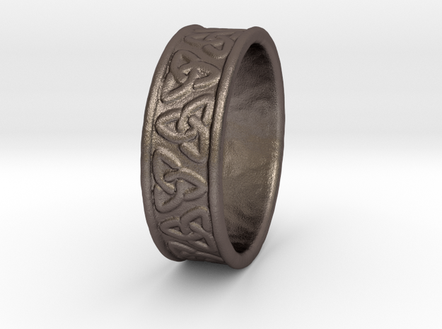 Celtic Ring 17.2mm in Polished Bronzed Silver Steel
