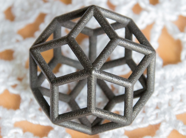 Rhombic Icosahedron Pendant in Polished and Bronzed Black Steel