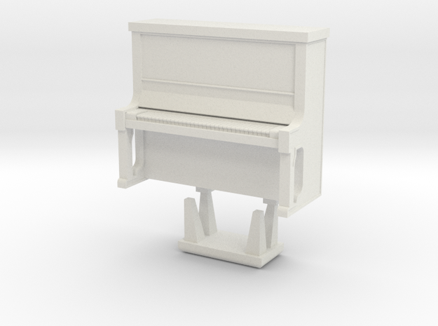 Piano With Bench - HO 87:1 Scale in White Strong & Flexible