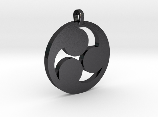 Tomoe Pendant in Polished and Bronzed Black Steel