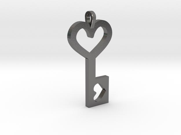 Heart Key Pendant in Polished Nickel Steel