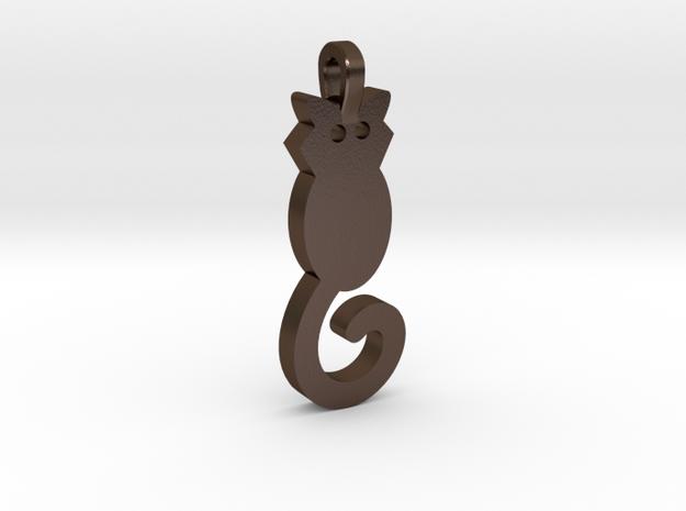 Cat Pendant in Polished Bronze Steel