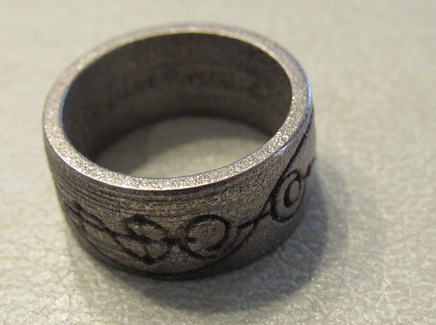 """IDIC"" Vulcan Script Ring - Engraved Style in Polished Nickel Steel: 7 / 54"