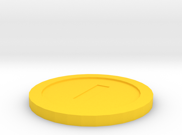 Mario Coin in Yellow Processed Versatile Plastic