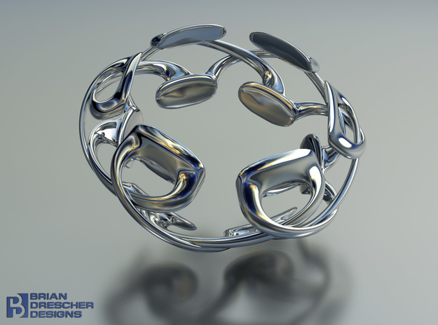 Pad Podz Ring in Fine Detail Polished Silver