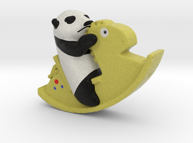 Panda riding a Horse in Full Color Sandstone