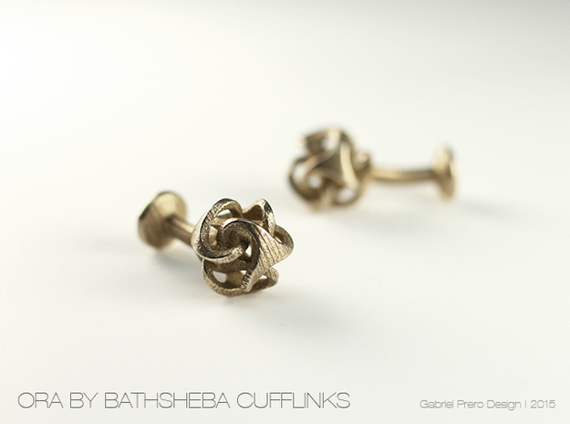 Ora by Bathsheba Cufflinks in Polished Bronzed Silver Steel