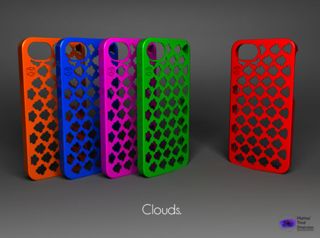 Iphone 5/5s case -  Clouds Pattern in Blue Strong & Flexible Polished
