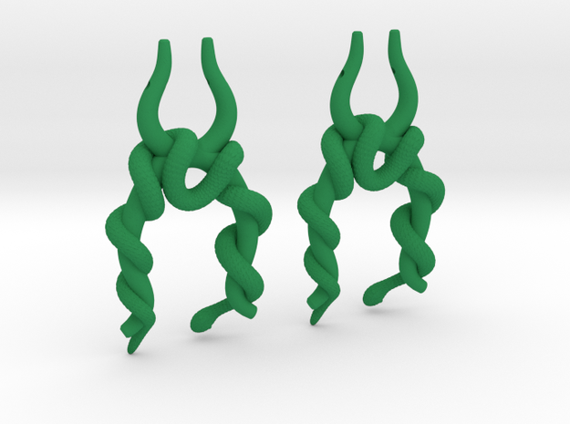 Twisted Snake Earring in Green Strong & Flexible Polished