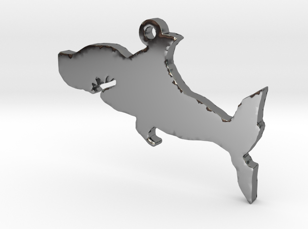 Shark Necklace Pendant in Fine Detail Polished Silver