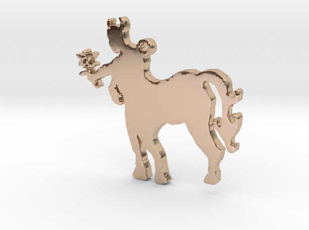 Centaur with a Flower Necklace Pendant in 14k Rose Gold Plated Brass