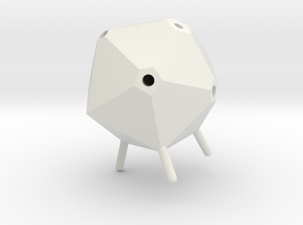 Icosahedron Pen Holder in White Strong & Flexible