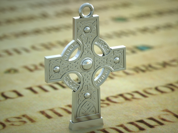Celticcross Necklace Small in Polished Silver