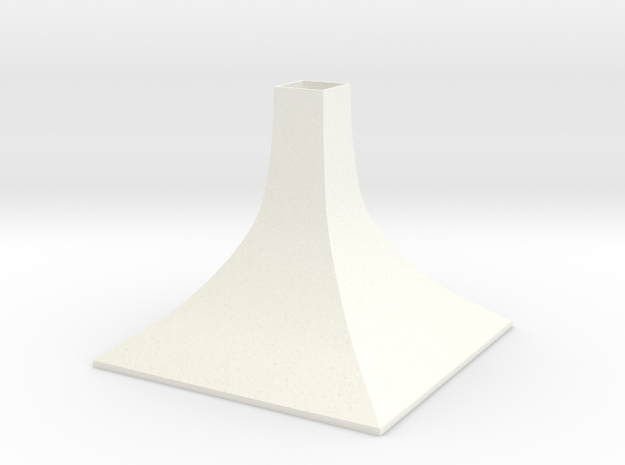 Squared Small Conical Vase in White Processed Versatile Plastic