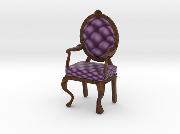 1:12 One Inch Scale VioletDark Oak Louis XVI Chair in Full Color Sandstone