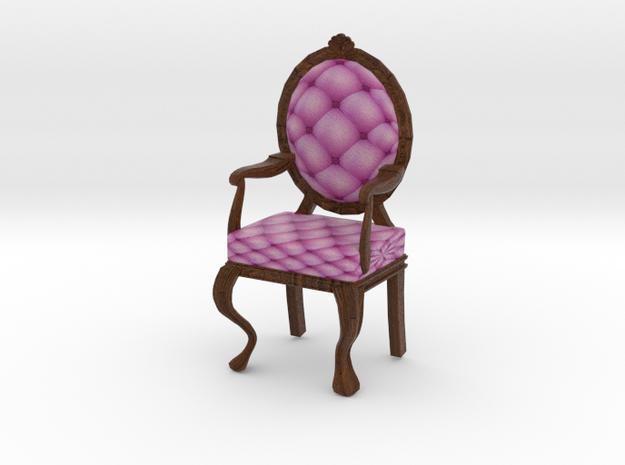 1:12 One Inch Scale PinkDark Oak Louis XVI Chair in Full Color Sandstone