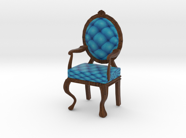 1:12 One Inch Scale RobinDark Oak Louis XVI Chair in Full Color Sandstone