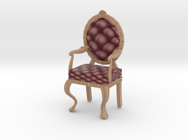 1:12 One Inch Scale MaroonPale Oak Louis XVI Chair in Full Color Sandstone