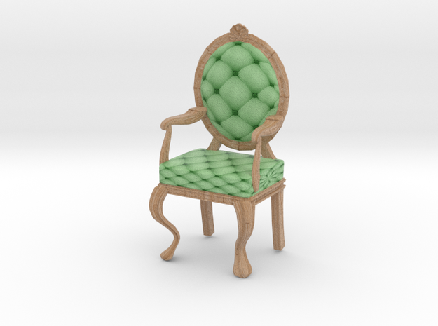 1:12 One Inch Scale MintPale Oak Louis XVI Chair in Full Color Sandstone