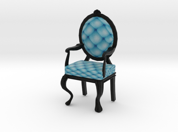 1:12 One Inch Scale SkyBlack Louis XVI Chair in Full Color Sandstone