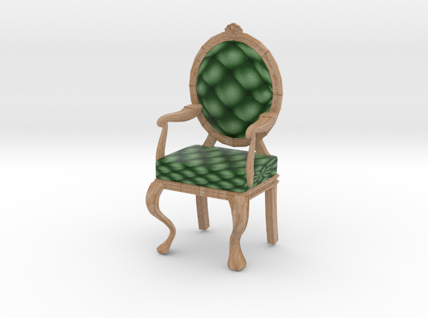 1:24 Half Inch Scale PinePale Oak Louis XVI Chair in Full Color Sandstone