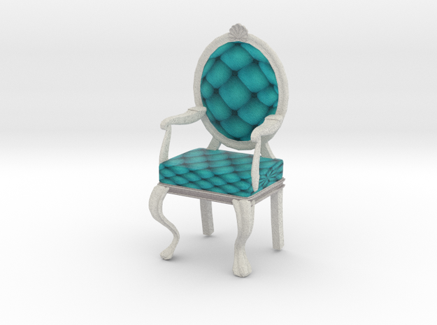 1:24 Half Inch Scale TealWhite Louis XVI Chair in Full Color Sandstone