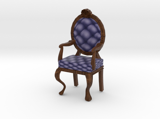 1:48 Quarter Scale NavyDark Oak Louis XVI Chair in Full Color Sandstone