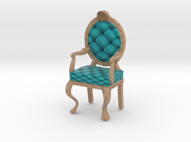 1:48 Quarter Scale TealPale Oak Louis XVI Chair in Full Color Sandstone