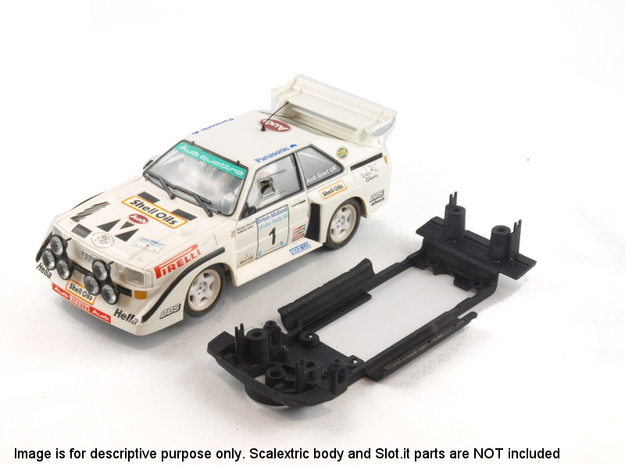 S04-ST1 Chassis for Scalextric Audi Sport Quattro  in White Natural Versatile Plastic