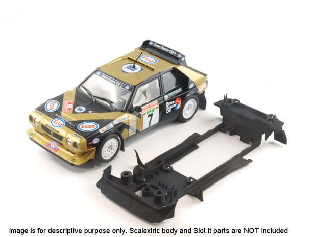 S05-ST1 Chassis for Scalextric Delta S4 w/spoiler in White Natural Versatile Plastic