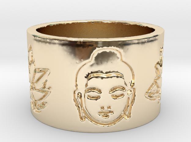 Buddha Lotus Flat Ring Size 4.5 in 14K Gold