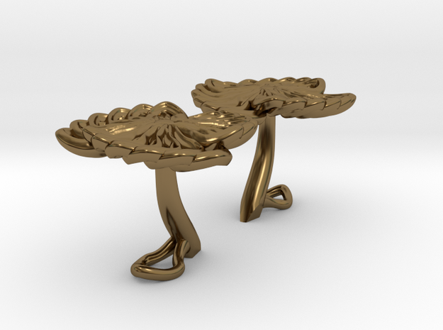 Flower Cufflinks in Polished Bronze