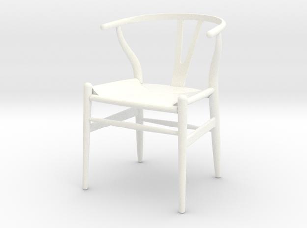 Wishbone Chair in White Processed Versatile Plastic: 1:12