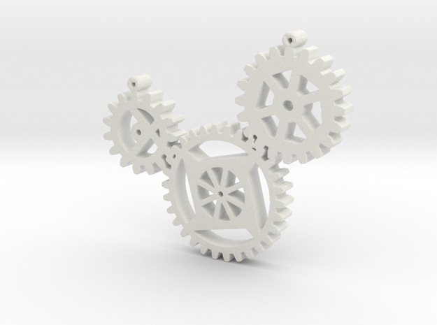 Steampunk gears in White Natural Versatile Plastic