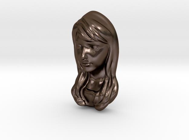 Pendant woman 5cm in Polished Bronze Steel