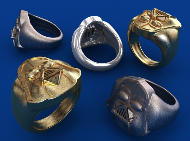 Vader Ring in Polished Bronzed Silver Steel