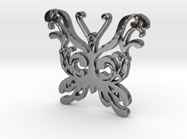 Swirly Butterfly Necklace Pendant in Fine Detail Polished Silver