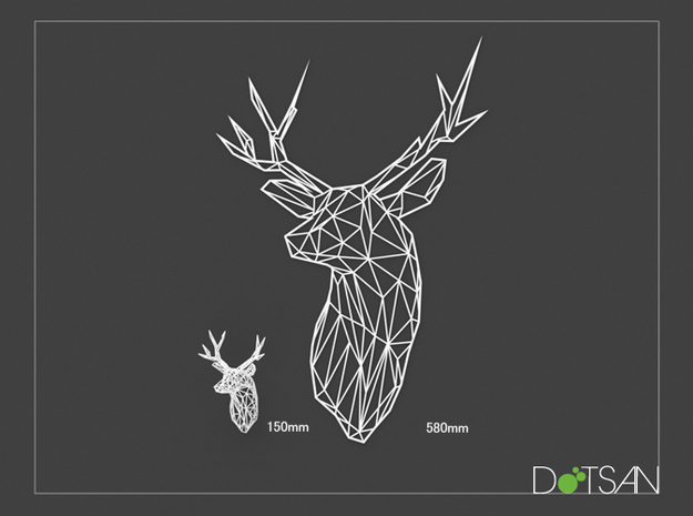 XL Flat Stag Trophy Head Wall Mounted in White Natural Versatile Plastic