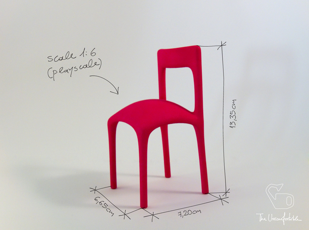 Uncomfortable chair No3 - 1:6 scale in Pink Strong & Flexible Polished
