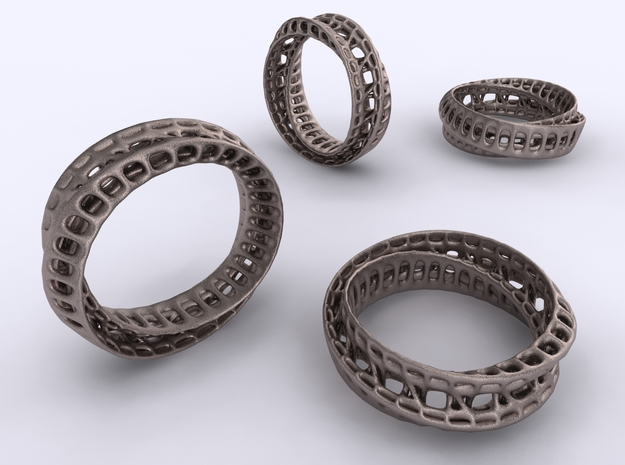 Twisted Bond Ring in Polished Bronzed Silver Steel