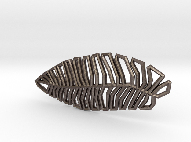 Geometric Feather in Stainless Steel