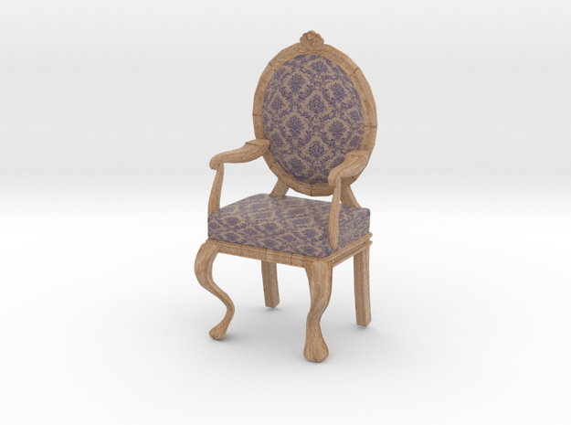 1:12 Scale Purple Damask/Pale Oak Louis XVI Chair in Full Color Sandstone