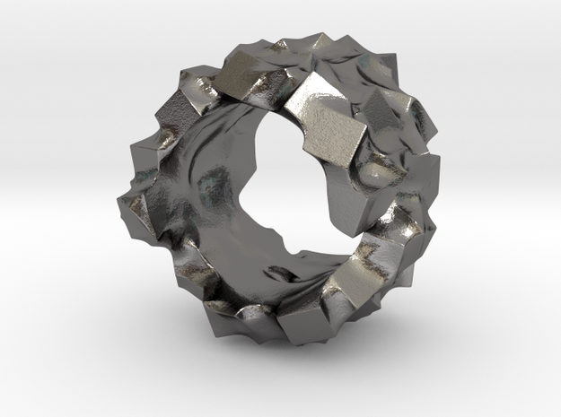 Ring of cubes No.4 in Polished Nickel Steel