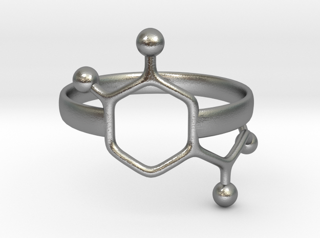 Adrenaline Molecule Ring - Size 7 in Raw Silver