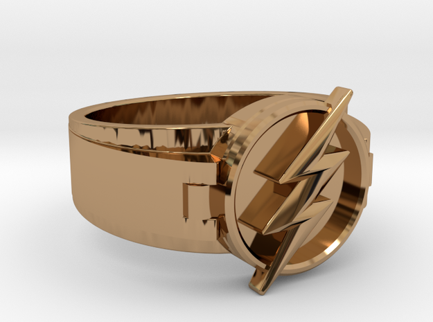 V2 Flash Ring Size 8, 18.19mm in Polished Brass