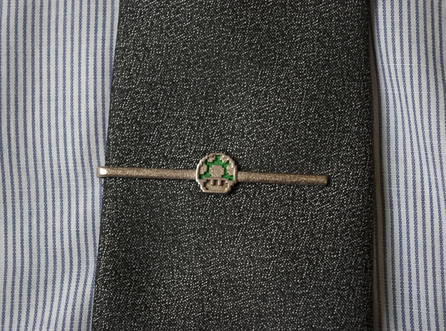 Super Mario Bros: 1UP Tie Clip 3d printed Enameled tie clip