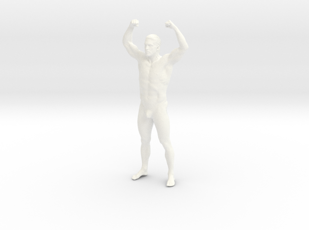 Bodybuilding man in 8cm Passed in White Strong & Flexible Polished