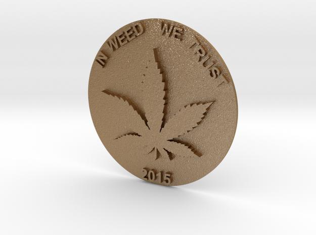 Marijuana Coin in Matte Gold Steel