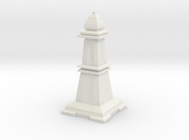 Bishop - Mini Chess Piece in White Natural Versatile Plastic