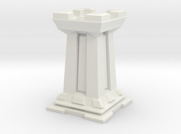 Rook - Mini Chess Piece in White Natural Versatile Plastic